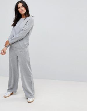 Vila Однотонные брюки с широкими штанинами. Цвет: серый