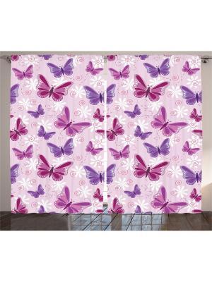 Комплект фотоштор из полиэстера высокой плотности Лиловые бабочки, 290*265 см Magic Lady. Цвет: розовый, бордовый, фиолетовый
