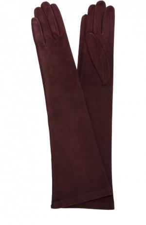 Удлиненные замшевые перчатки Sermoneta Gloves. Цвет: бордовый