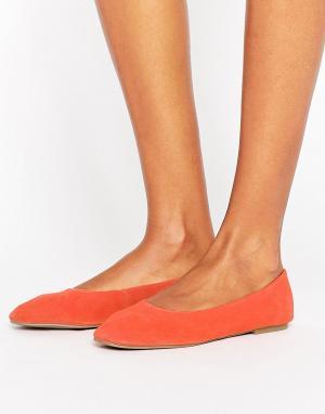 New Look Замшевые балетки. Цвет: оранжевый