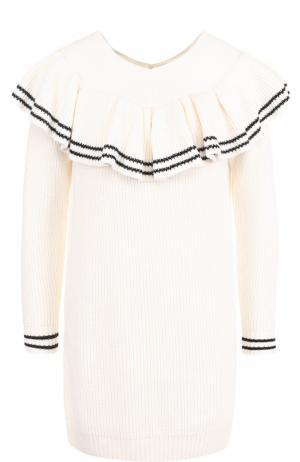 Пуловер с V-образным вырезом и оборкой self-portrait. Цвет: белый