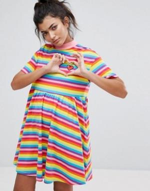 Lazy Oaf Разноцветное платье-футболка Sally. Цвет: мульти