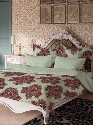 Комплект постельного белья Магнолия Волшебная ночь. Цвет: бордовый, светло-зеленый