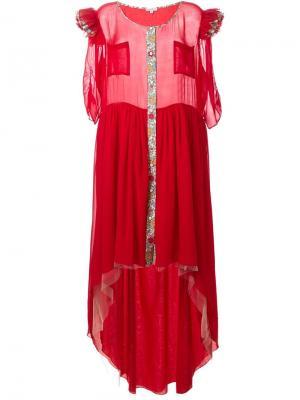 Длинное платье с оборками Natasha Zinko. Цвет: красный