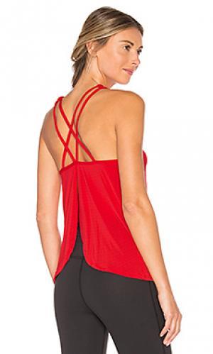 Майка на бретельках с разрезом сзади sleek stripe Beyond Yoga. Цвет: красный