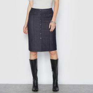 Юбка с джинсовым эффектом, стрейчевая ANNE WEYBURN. Цвет: синий