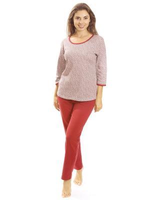 Костюм с брюками Алтекс.. Цвет: бордовый, бежевый
