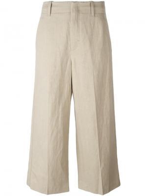 Укороченные широкие брюки Vince. Цвет: телесный