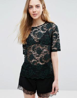 Ganni Прозрачная кружевная блузка Flynn. Цвет: зеленый