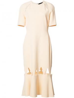 Платье с вырезными деталями David Koma. Цвет: телесный