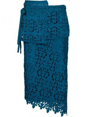 Многослойная юбка в технике макраме Nº21. Цвет: синий
