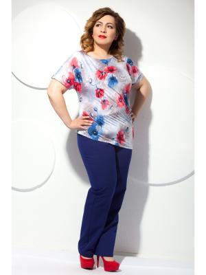 Блузка Modellos. Цвет: синий, красный, светло-серый