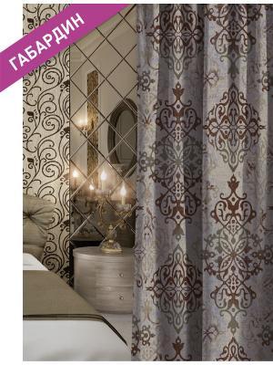 Штора (1шт.) Волшебная ночь 150см*270см, ткань-Габардин,  стиль-ВЕРСАЛЬ, TRACERY. Цвет: коричневый, серый