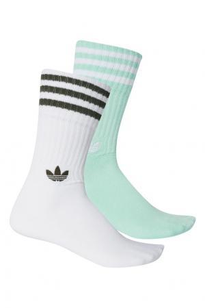 Зеленые носки Adidas. Цвет: зеленый