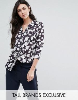Alter Tall Рубашка в пижамном стиле с цветочным принтом. Цвет: мульти