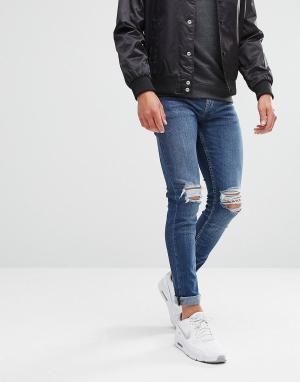 New Look Синие выбеленные джинсы скинни с рваными коленями. Цвет: синий