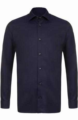 Хлопковая сорочка с воротником кент Z Zegna. Цвет: темно-синий