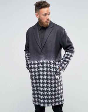 Rogues of London Пальто с градиентной отделкой и ломаной клеткой. Цвет: черный