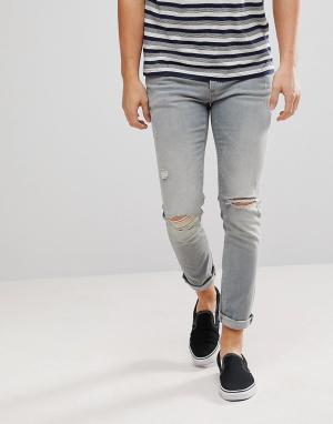 River Island Светло-серые рваные джинсы скинни. Цвет: синий