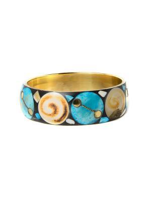 Браслет Солнечная спираль, голубой Indira. Цвет: золотистый