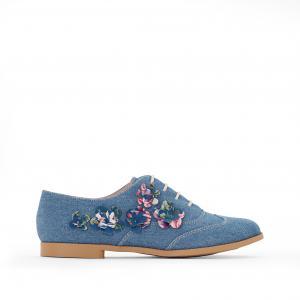 Ботинки-дерби из денима с цветочной вышивкой MADEMOISELLE R. Цвет: деним