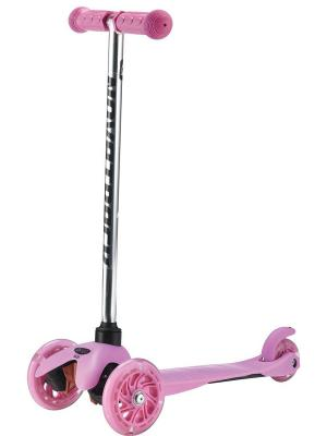 Самокат-кикборд Novatrack Disco-kids детский max 40кг. Цвет: розовый