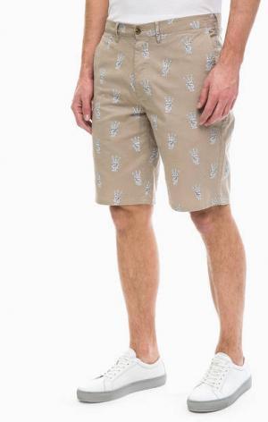Хлопковые шорты на пуговицах Wrangler. Цвет: бежевый