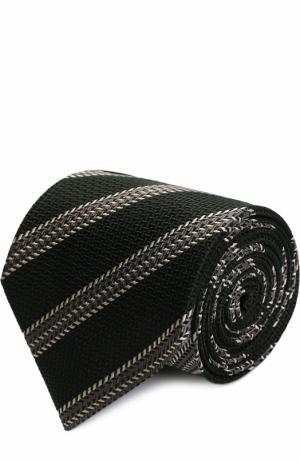 Шелковый галстук в полоску Ermenegildo Zegna. Цвет: темно-зеленый