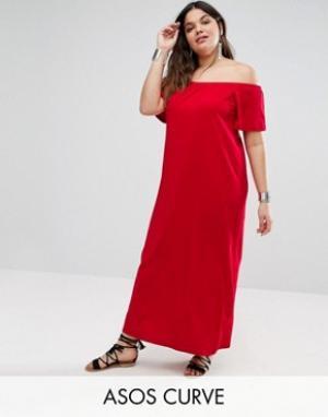 ASOS Curve Платье макси с открытыми плечами. Цвет: красный