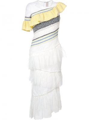 Платье с оборками Peter Pilotto. Цвет: белый