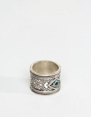 ASOS Кольцо с зеленым камнем. Цвет: серебряный