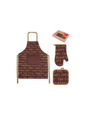 Набор - фартук, прихватка, рукавичка Чай-кофе EL CASA. Цвет: коричневый