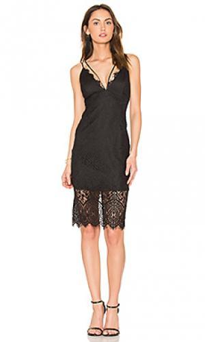 Платье миди flora Bardot. Цвет: черный