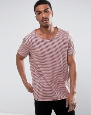 ASOS Длинная трикотажная футболка в полоску с необработанными краями. Цвет: розовый