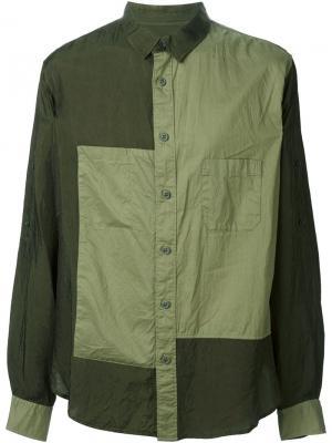 Лоскутная рубашка Yohji Yamamoto. Цвет: зелёный