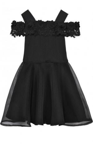 Приталенное платье с кружевной отделкой и открытыми плечами David Charles. Цвет: черный