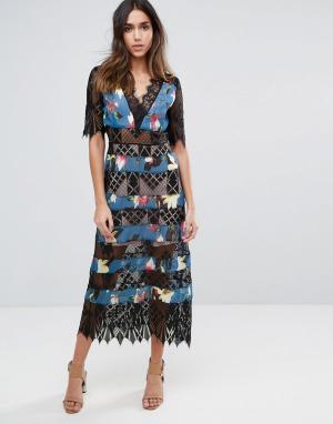 Foxiedox Платье в полоску с кружевной вставкой. Цвет: мульти
