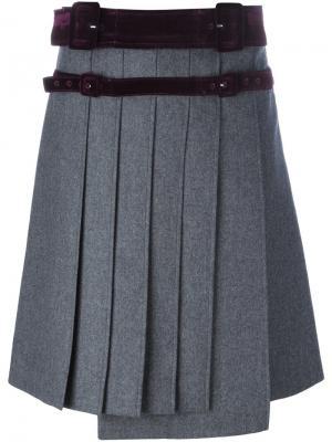 Плиссированная юбка Carven. Цвет: серый