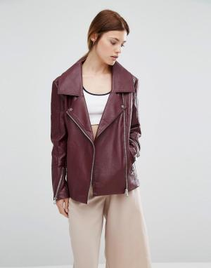 Urbancode Байкерская куртка в стиле oversize из полиуретана. Цвет: красный