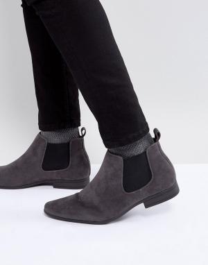 New Look Серые ботинки челси из искусственной замши. Цвет: серый