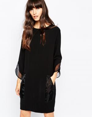 Paisie Цельнокройное платье с манжетами из органзы. Цвет: черный
