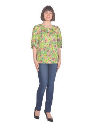 Блузка Томилочка Мода ТМ. Цвет: светло-зеленый, желтый