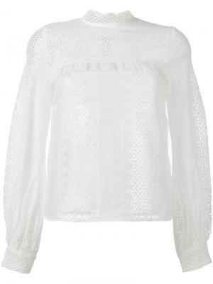 Блузка с вышивкой Self-Portrait. Цвет: белый
