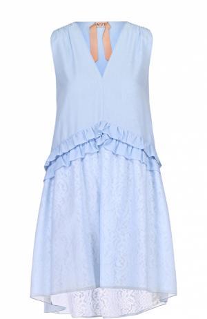 Платье свободного кроя с оборками No. 21. Цвет: голубой