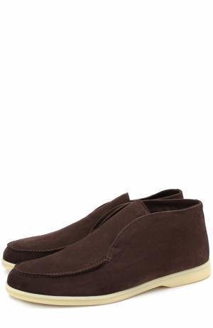 Замшевые ботинки без шнуровки Loro Piana. Цвет: темно-коричневый