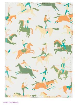 Обложка для паспорта Цирковые лошади Mitya Veselkov. Цвет: белый, серо-зеленый, горчичный