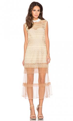Цельнокроеное платье с подкладкой self-portrait. Цвет: беж