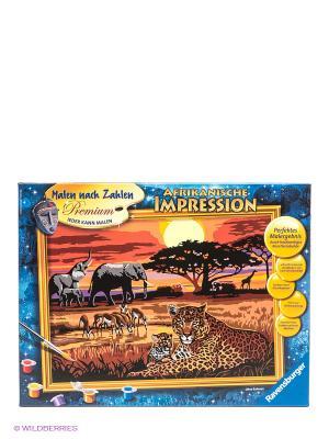 Раскраска по номерам Африка Ravensburger. Цвет: коричневый, желтый, черный