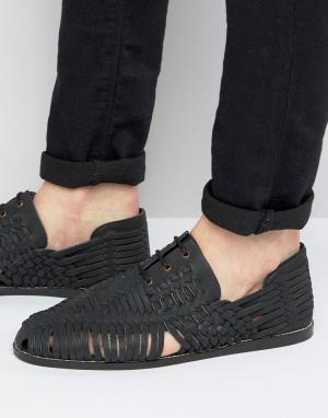 ASOS Черные плетеные сандалии из нубука на шнуровке. Цвет: черный