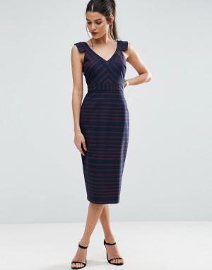 ASOS Платье-футляр в полоску. Цвет: мульти